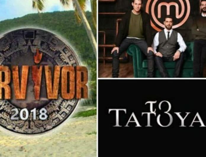 Τηλεθέαση: Η πτώση του Survivor και η κόντρα με το Τατουάζ! Τι νούμερα σημείωσε το Master Chef; Χαμός στην Prime Time!